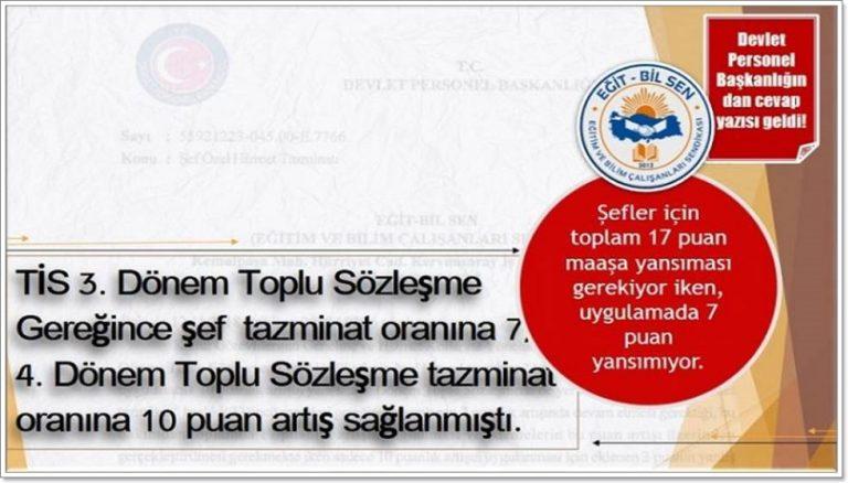 MEB Şefleri Özel Hizmet Tazminat Oranı ile ilgili DPB'nın cevabi yazısı.