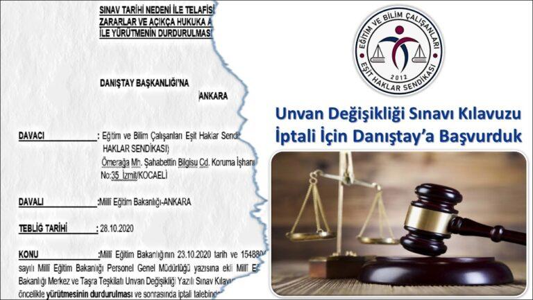 MEB Unvan Değişikliği Sınavı Başvuru Kılavuzu iptali için dava açtık!